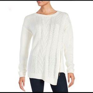 Ivanka Trump Side Zip Knit Sweater Ivory